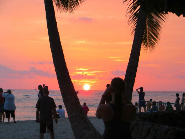 Waikiki Beach at Sunset in the Hawaiian Islands