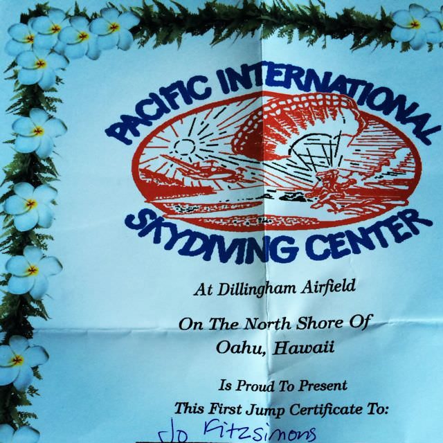Skydive Hawaii certificate