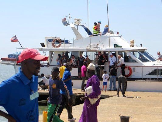 Tourist boat Juffureh Gambia Tourism