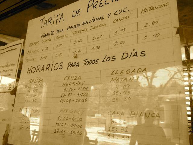 Timetable Hershey Train Cuba