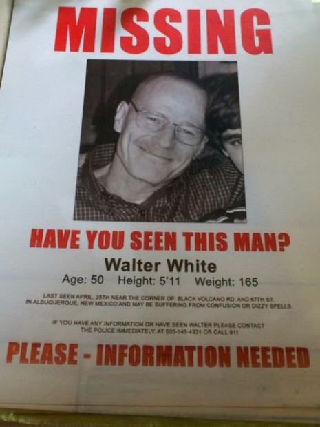 Breaking Bad Missing Poster