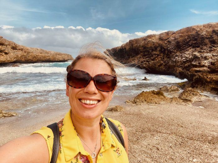 Hiking in Curacao about a week after dengue fever. Smiling but crying a little bit inside.
