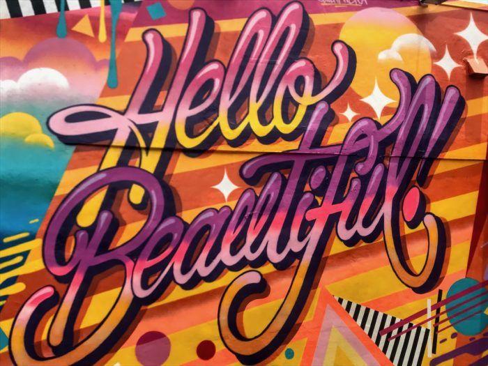 Hello beautiful street art miami