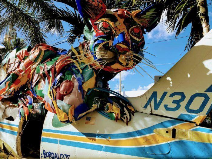 cat on a plane art Wynwood Walls miami