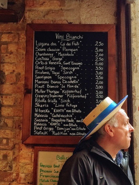 gondola driver in Venice bar